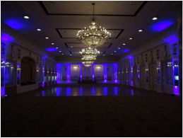 LED event and reception uplighting from Rockin' Robin DJs